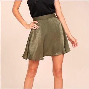 Lulus olive green satin skirt